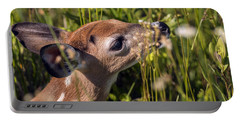Fawn Smelling The Wildflowers Portable Battery Charger