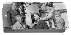 Portable Battery Charger featuring the photograph Fdr Presenting Medal Of Honor To William Wilbur by War Is Hell Store