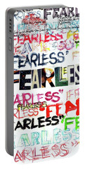 Portable Battery Charger featuring the mixed media Fearless by Carolyn Weltman