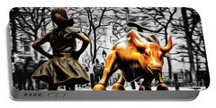 Fearless Girl And Wall Street Bull Statues 15 Portable Battery Charger