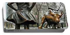 Fearless Girl And Wall Street Bull Statues 5 Portable Battery Charger