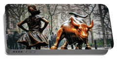 Fearless Girl And Wall Street Bull Statues Portable Battery Charger