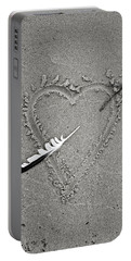 Feather Arrow Through Heart In The Sand Portable Battery Charger