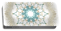 Portable Battery Charger featuring the digital art Feathers And Catkins Kaleidoscope Design by Mary Machare
