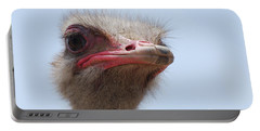 Feathers Standing Around The Head Of An Ostrich Portable Battery Charger