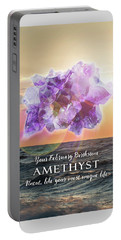 February Birthstone Amethyst Portable Battery Charger