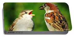 Feeding Baby Sparrows 2 Portable Battery Charger by Judy Via-Wolff