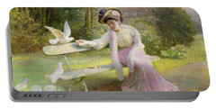 Feeding The Doves  Portable Battery Charger by Edmond Alphonse Defonte