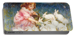 Feeding The Rabbits Portable Battery Charger by Frederick Morgan