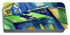 Portable Battery Charger featuring the painting Feedmill In Blue And Green by Kathy Braud