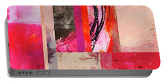 Portable Battery Charger featuring the painting Feeling Pink Abstract Art by Nancy Merkle