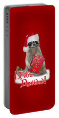 Feliz Navidad - Raccoon Portable Battery Charger by Gravityx9  Designs