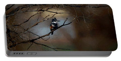 Female Belted Kingfisher 3 Portable Battery Charger by Ernie Echols