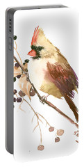 Female Cardinal Bird Portable Battery Charger