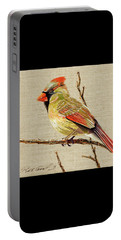 Female Cardinal Portable Battery Charger by Bob Coonts