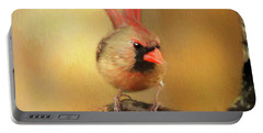 Female Cardinal Excited For Spring Portable Battery Charger by Darren Fisher