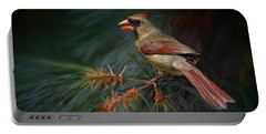 Female Cardinal On Evergreen Portable Battery Charger