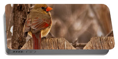 Female Cardinal On The Fence Portable Battery Charger