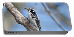 Portable Battery Charger featuring the photograph Female Downey Woodpecker 1104  by Michael Peychich
