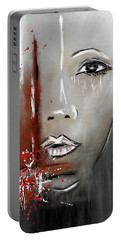 Female Half Face On Grey Abstract Portable Battery Charger