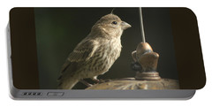 Female House Finch On Feeder Portable Battery Charger