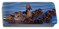 Female Mallard Duck With Chicks Portable Battery Charger