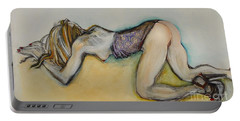 Portable Battery Charger featuring the painting Female Nude - Begging Beth by Carolyn Weltman