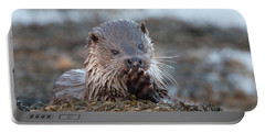 Female Otter Eating Portable Battery Charger