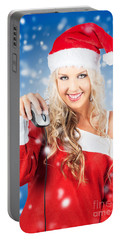Female Santa Claus Christmas Shopping Online Portable Battery Charger