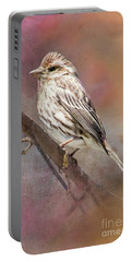Female Sparrow On Branch Ginkelmier Inspired Portable Battery Charger