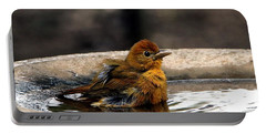 Female Summer Tanager In Bird Bath Portable Battery Charger