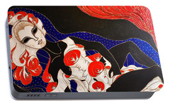 Portable Battery Charger featuring the painting Feminine Mystique by Rae Chichilnitsky