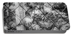 Fence And Flowers. Portable Battery Charger