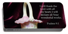 Portable Battery Charger featuring the photograph Fenton Art Glass Basket Psalms 9vs1 by Linda Phelps