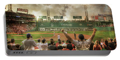 Portable Battery Charger featuring the photograph Fenway Park Green Monster by Joann Vitali