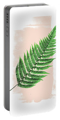 Fern Leaf On Pink Portable Battery Charger