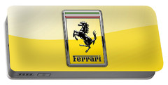 Ferrari 3d Badge- Hood Ornament On Yellow Portable Battery Charger