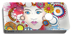 Portable Battery Charger featuring the painting Festive Celebrant by Rebecca Davis