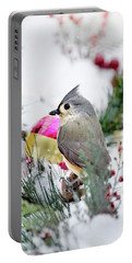 Festive Titmouse Bird Portable Battery Charger by Christina Rollo