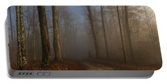 Foggy Morning In The Forest Portable Battery Charger