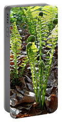 Fiddlehead Ferns Portable Battery Charger by Joy Nichols