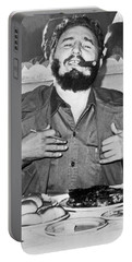 Fidel Castro In New York Portable Battery Charger
