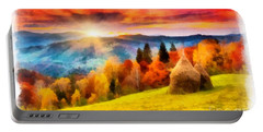 Field Of Autumn Haze Painting Portable Battery Charger