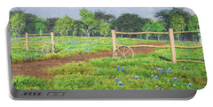 Portable Battery Charger featuring the digital art Field Of Bluebonnets by Jayne Wilson
