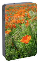 Portable Battery Charger featuring the mixed media Field Of Orange Poppies- Art By Linda Woods by Linda Woods