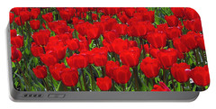 Field Of Red Tulips Portable Battery Charger