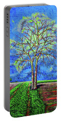 Portable Battery Charger featuring the painting Field.tree by Viktor Lazarev
