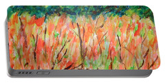 Portable Battery Charger featuring the painting Fiery Bushes by Esther Newman-Cohen