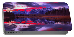 Fiery Pink And Purple Teton Skies Portable Battery Charger