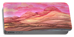 Portable Battery Charger featuring the painting Fiery Sky by Adria Trail